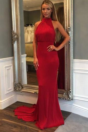 Red Halter Gown with ruched,Open Back Evening Dress, Sheath Prom Gowns,Prom Dress,Wedding Guest Prom Gowns, Formal Occasion Dresses,Formal Dress