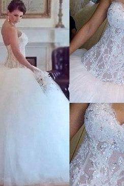 Gorgeous wedding dress,white wedding dress,lace wedding dress,handmade wedding dress,bridal gown,Wedding Guest Prom Gowns, Formal Occasion Dresses,Formal Dress