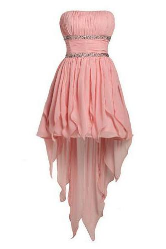 Lovely Pearl Pink A-line Strapless Mini Chiffon Asymmetrical Prom Dress, Short Prom dresses , Graduation dresses, Pink Homecoming dresses,Wedding Guest Prom Gowns, Formal Occasion Dresses,Formal Dress