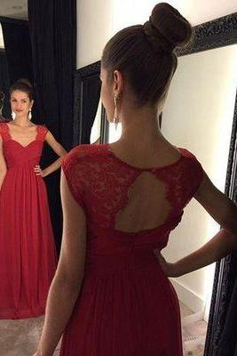 Red Dress,Simple A-line Red Long Chiffon Prom Dress ,Wedding Guest Prom Gowns, Formal Occasion Dresses,Formal Dress