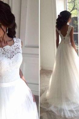 Wedding Dress,tulle/lace Elegant A-line White Long Wedding Dresses,tulle Bridal Dresses,Wedding Guest Prom Gowns, Formal Occasion Dresses,Formal Dress