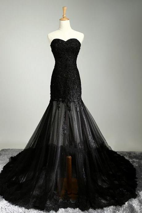 Black Mermaid Floor-length Prom Dress with Sheer Bottom and Strapless Bodice
