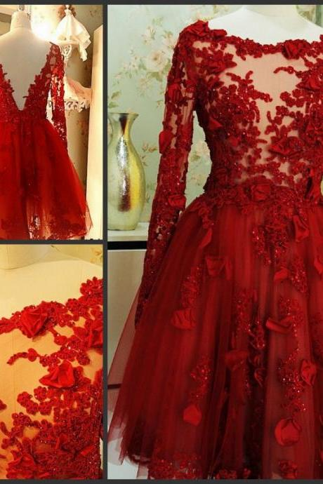 Charming Prom Dress,Appliques Prom Dress,Long-Sleeves Prom Dress,Tulle prom Dress,A-Line Evening Dress,Wedding Guest Prom Gowns, Formal Occasion Dresses,Formal Dress