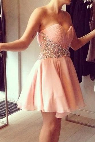 Sweetheart Pink Prom Dresses,Short Homecoming Dress,Graduation Dress, Cocktail Dress, Party Dress,Wedding Guest Prom Gowns, Formal Occasion Dresses,Formal Dress