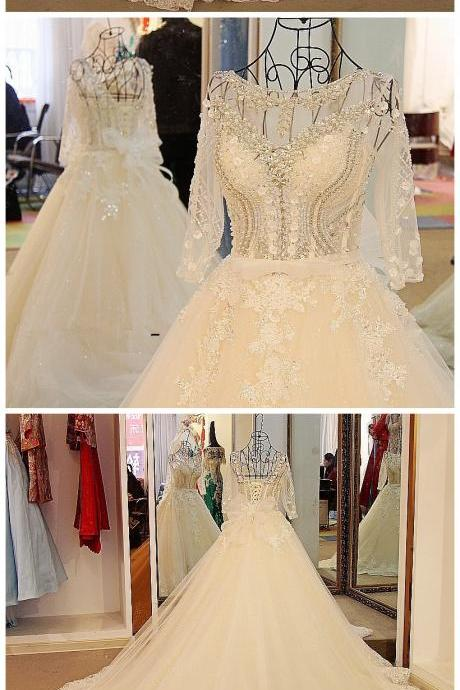 Wedding Dress,Sexy Long Sleeves Wedding Dress White Flash Diamond Long Train Bride Dress 100% Real Picture,Wedding Dresses,Floor-length Wedding Dresses,Wedding Guest Prom Gowns, Formal Occasion Dresses,Formal Dress