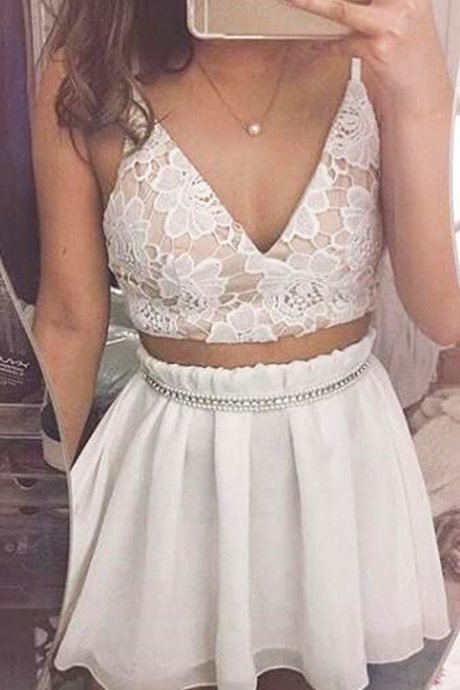 Homecoming Dress, Prom Dresses,homecoming Dresses,two piece homecoming dress,v neck mini dress,a line party dress,lace applique party dress,short prom dress,white mini dress with pearls,Wedding Guest Prom Gowns, Formal Occasion Dresses,Formal Dress