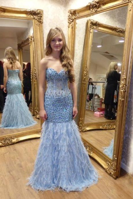 Prom Dress,Evening Dresses, Prom Dresses,Party Dresses,Prom Dress, Prom Dresses, Prom Dresses,Sexy Sweetheart Light Blue Feathers Mermaid Prom Dresses Long Beaded Crystal vestidos de fiesta Formal Gowns,Floor-length Prom Dresses,Wedding Guest Prom Gowns, Formal Occasion Dresses,Formal Dress