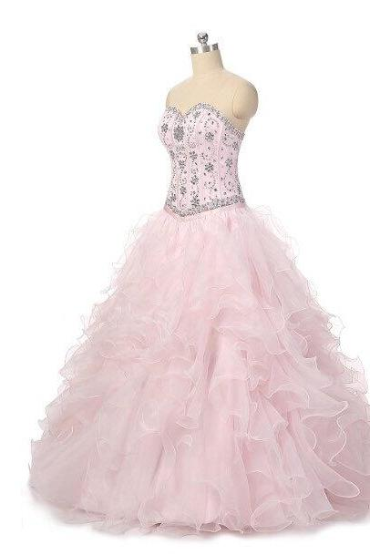 Wedding Dress, Prom Dresses,Party Dresses,Wedding Dress, Bridal Dresses, Pink Floor Length Ruffle Organza Quinceanera Gown Featuring Sweetheart Beaded Bodice,Wedding Guest Prom Gowns, Formal Occasion Dresses,Formal Dress