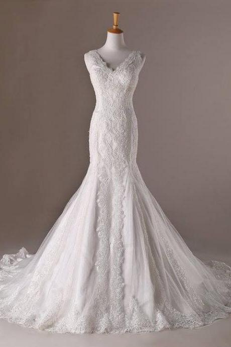 Wedding Dresses, Wedding Gown,V Neck White Lace Mermaid Wedding Dresses Vintage Bridal Gowns,Floor-length Prom Dresses,Wedding Guest Prom Gowns, Formal Occasion Dresses,Formal Dress