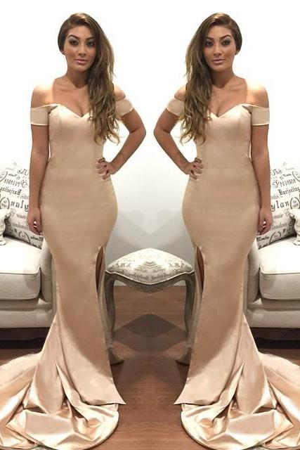 Prom Dress,Long Prom Dress,Sexy Mermaid Prom Dress,Off Shoulder Evening Dress,Sexy Split Side Prom Dresses,Floor-length Prom Dresses,Wedding Guest Prom Gowns, Formal Occasion Dresses,Formal Dress