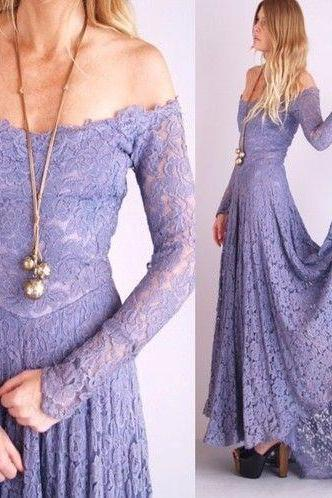 Prom Dress,Charming Prom Dress,Lace Prom Dress,Off the Shoulder Prom Dress,Long-Sleeves Evening Dress,Floor-length Prom Dresses,Wedding Guest Prom Gowns, Formal Occasion Dresses,Formal Dress