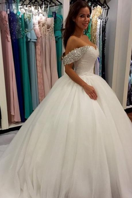 Wedding Dress, Off Shoulder Wedding Dress,Elegant Ball Gown Wedding Dresses,Floor-length Bridal Dresses,Wedding Guest Prom Gowns, Formal Occasion Dresses,Formal Dress