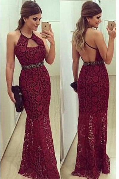 Prom Dress, long prom dress, burgundy prom dress, lace prom dress, backless prom dress, long evening dress, prom dress ,Evening dresses, Prom Dresses,Long Prom Dress,,Floor-length Prom Dresses,Wedding Guest Prom Gowns, Formal Occasion Dresses,Formal Dress
