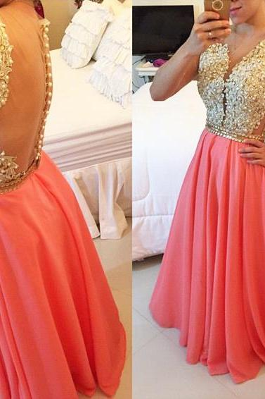 Prom Dress,New Charming Prom dress,Deep V-neck Prom dress,Chiffon Prom dress,long Prom dress ,evening dress,long party dreess, formal dress on luulla dress,Floor-length Prom Dresses,Wedding Guest Prom Gowns, Formal Occasion Dresses,Formal Dress