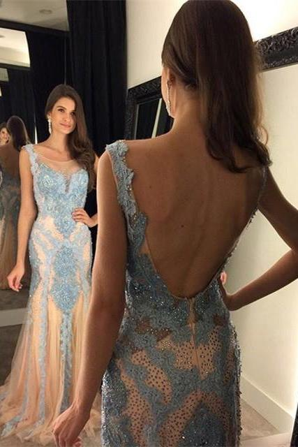 Prom Dress,New Elegant Mermaid Backless Prom Dress - Champagne Tulle with Blue Appliques,Teens Prom Dresses,Floor-length Prom Dresses,Wedding Guest Prom Gowns, Formal Occasion Dresses,Formal Dress