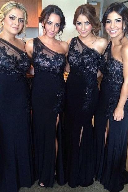 One Shoulder Mermaid Navy Blue Bridesmaid Dresses Long,Bridesmaid Gowns, Maid of Honor Dress,Wedding Party Dresses, Formal Evening Dress, Prom Dresses,Wedding Guest Prom Gowns, Formal Occasion Dresses,Formal Dress
