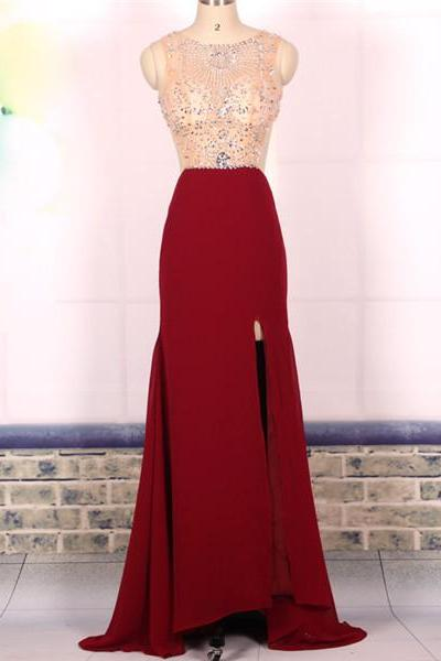 Prom Dress, Custom Cheap Ball Gown Beaded Sexy Backless Wine Red Long Prom Dresses Gowns, Formal Evening Dresses Gowns, Homecoming Graduation Cocktail Party Dresses,Holiday Dress, Plus size,Wedding Guest Prom Gowns, Formal Occasion Dresses,Formal Dress