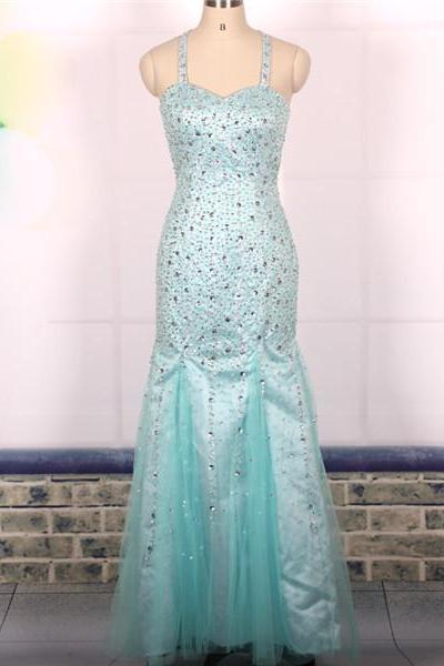 Prom Dress, Custom Cheap Ball Gown Heavy Beaded Sexy Backless Blue Long Mermaid Prom Dresses Gowns, Formal Evening Dresses Gowns, Homecoming Graduation Cocktail Party Dresses,Holiday Dress, Plus size,Wedding Guest Prom Gowns, Formal Occasion Dresses,Formal Dress