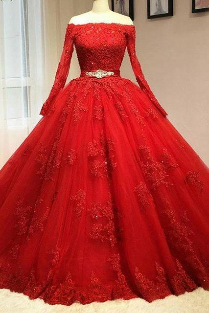 Prom Dress, New Cheap Delicate Red Ball Gown Quinceanera Dresses High Neck Long Sleeves Tulle Key Hole Back Corset Pink Sweet 16 Dresses Prom Dresses,Graduation Dresses,Wedding Guest Prom Gowns, Formal Occasion Dresses,Formal Dress