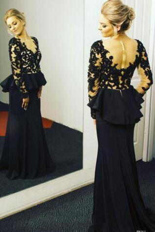Prom Dress, New Cheap Sheer Long Sleeves Prom Dresses Peplum Lace Appliqued Sheer V Neck Black and Champagne Evening Dresses,Graduation Dresses,Wedding Guest Prom Gowns, Formal Occasion Dresses,Formal Dress