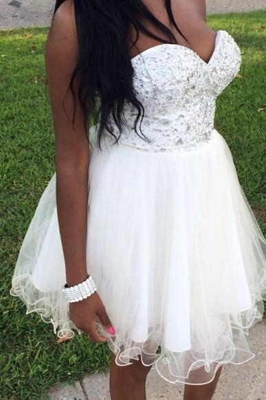 Homecoming Dress, New Cheap White A Line Organza Prom Dresses Deep Sweetheart Beading Crystals Mini Short Homecoming Dress Party Cocktail Dress Gowns,Graduation Dresses,Wedding Guest Prom Gowns, Formal Occasion Dresses,Formal Dress