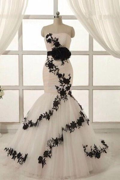 Wedding Dress, Dreaming White And black Mermaid Wedding Dresses with black belt lace appliques sweetheart backless bridal gown custom made,Graduation Dresses,Wedding Guest Prom Gowns, Formal Occasion Dresses,Formal Dress