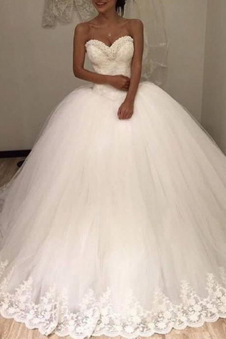 Wedding Dress, Dreaming Princess ball gown lace appliques wedding dresses beaded pearls elegant ivory bridal gown vestido de noiva custom made,Graduation Dresses,Wedding Guest Prom Gowns, Formal Occasion Dresses,Formal Dress