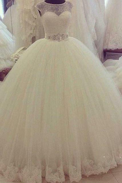 Wedding Dress, Hot Sale Ball Gown Tulle Wedding DressesLace Beading Crystals Bridal Gowns,Graduation Dresses,Wedding Guest Prom Gowns, Formal Occasion Dresses,Formal Dress