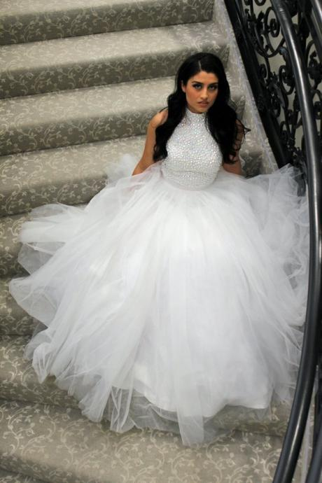 Wedding Dress, Hot Sale White A Line Beading Crystals Wedding Dresses Bridal Dress Wedding Dresses Gowns,Graduation Dresses,Wedding Guest Prom Gowns, Formal Occasion Dresses,Formal Dress