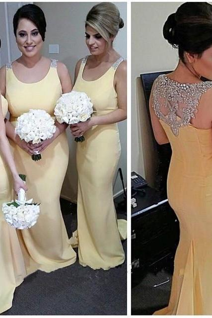 Bridesmaid Dress,Sexy Elegant Prom Dress, Bridesmaid Dress, Long Bridesmaid Dresses, Beautiful Bridesmaid Dress,Yellow Bridesmaid Dress, Mermaid Bridesmaid Dress,Scoop Bridesmaid Dress,Beaded Bridesmaid Dress,Wedding Party Dress,High Quality Graduation Dresses,Wedding Guest Prom Gowns, Formal Occasion Dresses,Formal Dress
