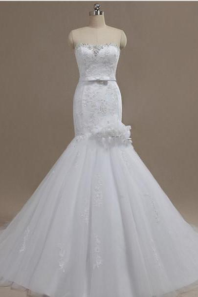Strapless Sweetheart Lace Beaded Mermaid Wedding Dress