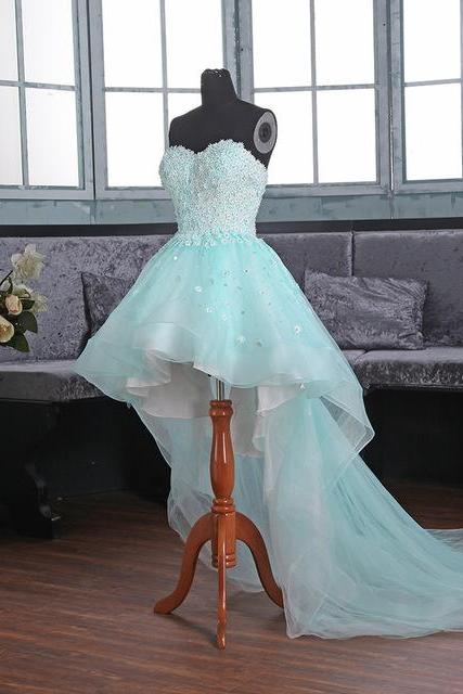 Blue Floral Appliqués and Beaded Embellished Sweetheart High Low Tulle Formal Dress Featuring Lace-Up Back