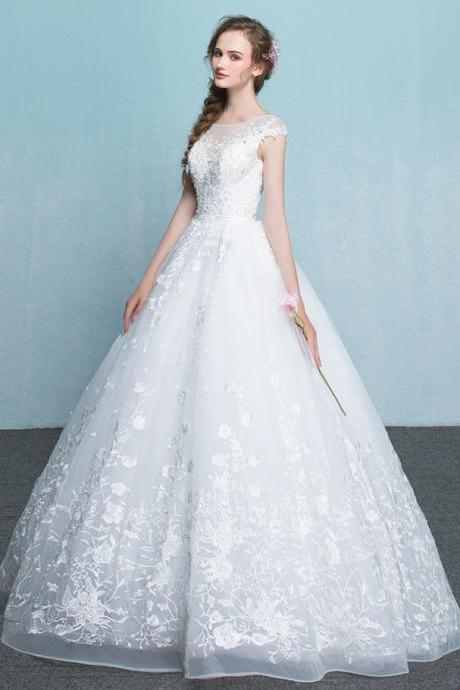 Wedding Dress,Ball Gowns Long A-line Wedding Dresses,Lace Up Cap Sleeves Wedding Gowns,Charming Elegant Lace Bridal Dresses,Beautiful Bridal Gowns,High Quality Bridal Dresses,Wedding Guest Prom Gowns, Formal Occasion Dresses,Formal Dress