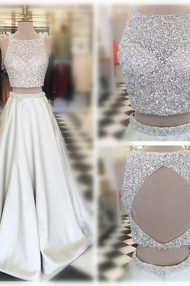 Sleeveless Prom Dress,Two Pieces Evening Dress,Long Beading Prom Dresses,Sexy Back Hole Party Dress,High Quality Graduation Dresses,Wedding Guest Prom Gowns, Formal Occasion Dresses,Formal Dress