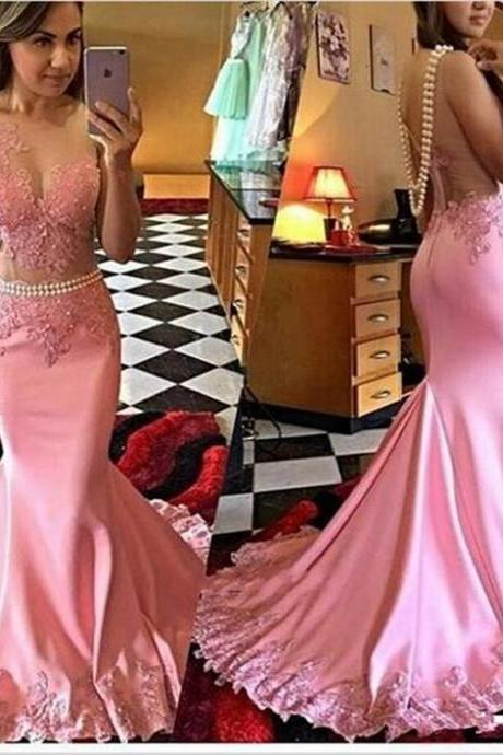 Sleeveless Pink Mermaid Applique Prom Dress,Floor Length Prom Dresses,High Quality Graduation Dresses,Wedding Guest Prom Gowns, Formal Occasion Dresses,Formal Dress