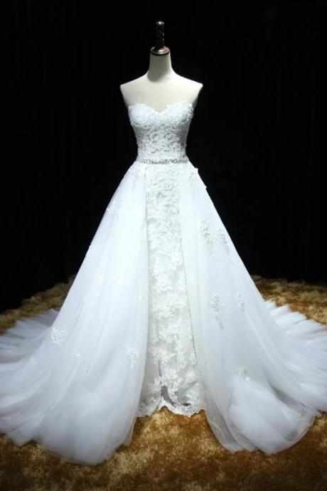 Wedding Dress,Sweetheart Full Lace Mermaid Wedding Dress featuring a Detachable Skirt and Train with Lace Up Back,High Quality Bridal Dresses,Wedding Guest Prom Gowns, Formal Occasion Dresses,Formal Dress