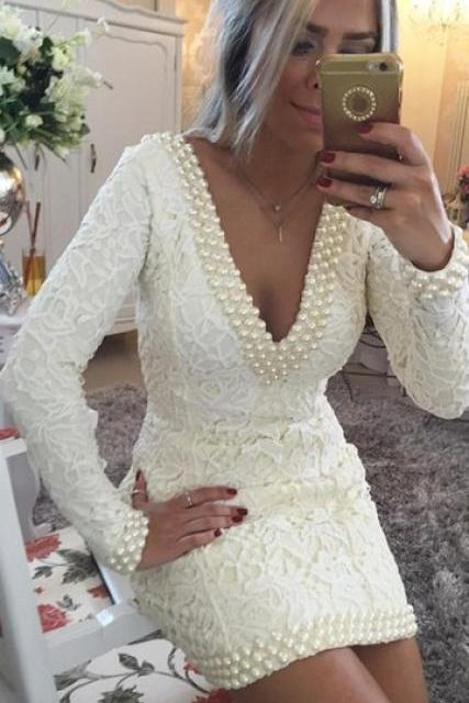Homecoming Dress, Short Sheath V-Neck Homecoming Dress, Long Sleeves Backless Prom Dress,Homecoming Dresses,High Quality Graduation Dresses,Wedding Guest Prom Gowns, Formal Occasion Dresses,Formal Dress