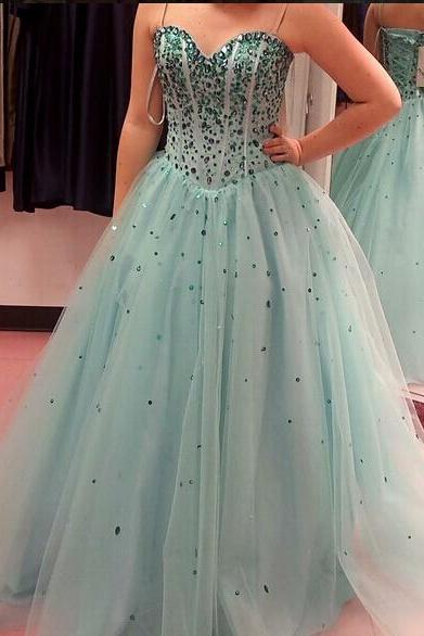Sky Blue Tulle Ball Gown Long Prom Dress, Rhinestone Prom Dress, Spaghetti Straps Prom Dress, Sweetheart Prom Dress, Evening Prom Dress
