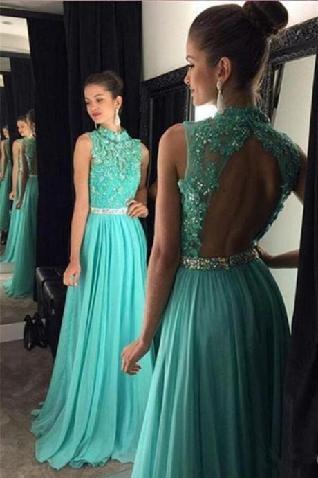 Open Back Lace Applique Prom Dress,Front Beaded Belt Cyan Long Chiffon Prom Dresses