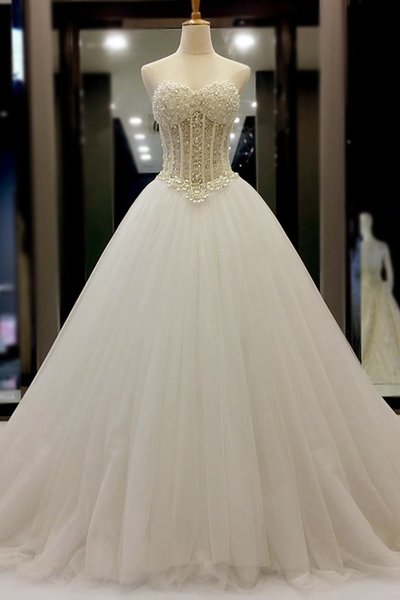 Wedding Dress,Sweetheart Beading Wedding Dresses,Wedding Dress,Custom Made Wedding Gown,Tulle Bridal Dresses