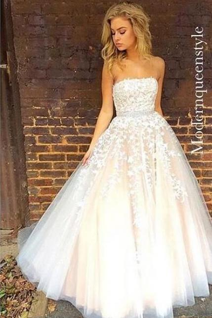 Charming White Appliques Prom Dress,Strapless Evening Dress,Floor Length Party Dress