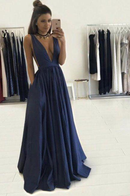 Custom Charming Simple Prom Dress,Deep V-Neck Evening Dress,Full Length Prom Dress