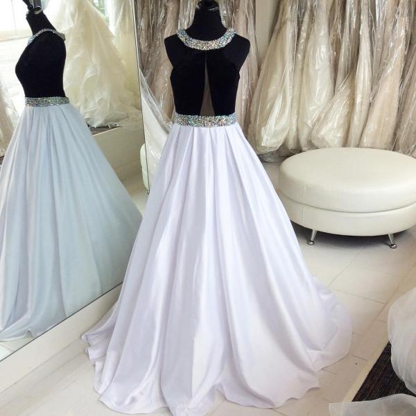 Black and White Prom Dress,Satin Long Prom Dresses,Evening Dresses Prom Gowns with Crystals Prom Dress