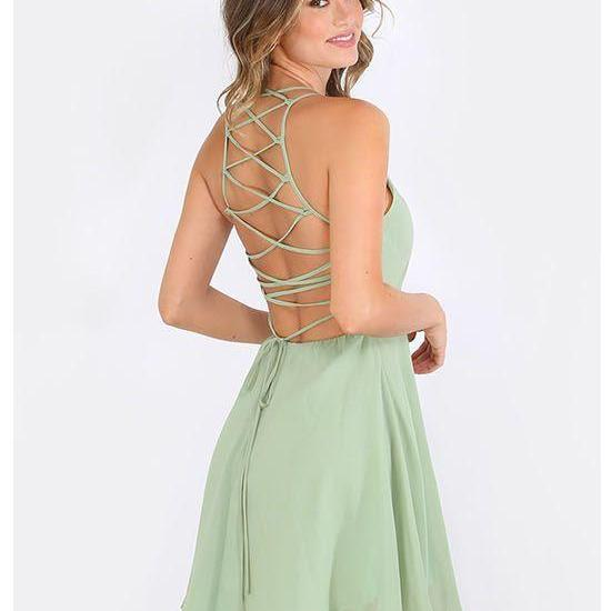 Short Homecoming Dress,Jewel A-line Chiffon Open Back Homecoming Dress