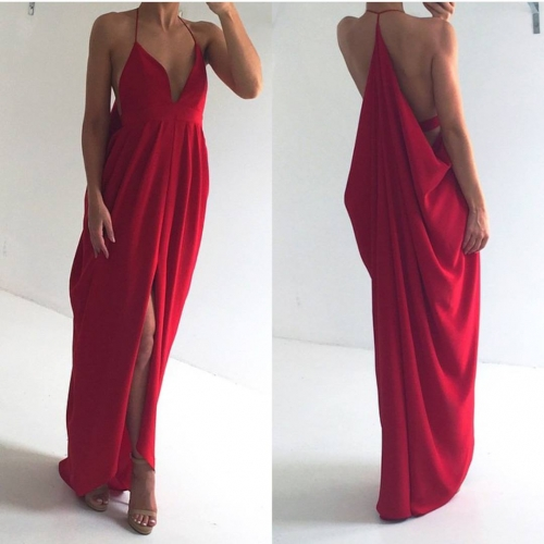 Sexy Halter Red Long Chiffon Prom Dress, Sexy Slit Prom Dress, Deep V Neck Prom Dress, Backless Prom Dress, Sexy Party Dress, Woman Dress, Maxi Dresses