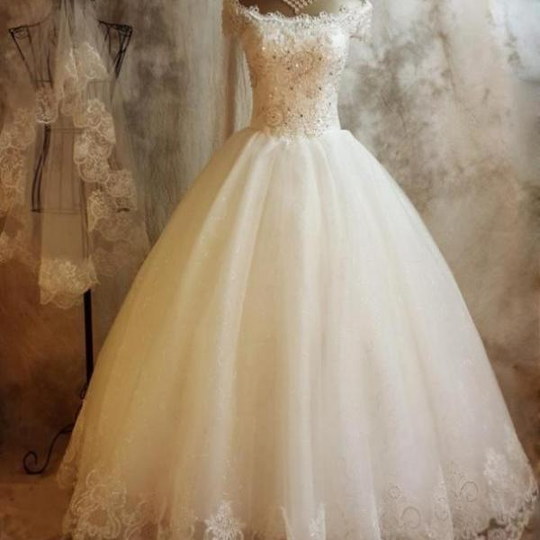 Lace Up Applique Wedding Dress,Tulle Floor-Length Wedding Dresses,Ball Gown Short Sleeves Homecoming Dress Hot Sale Dresses Wedding Dress