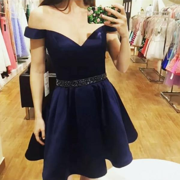 navy blue homecoming dress,short prom dresses,off shoulder party dresses,juniors prom dresses