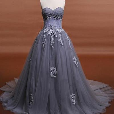 Charming Prom Dress,Sleeveless Prom Dresses, Appliques Evening Dress,Tulle Evening Dresses,Formal Dress
