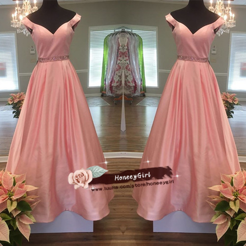 Off Shoulder Satin prom Dresses, Floor Length Party Dresses,Pink Party Dress,Simple Prom Dress