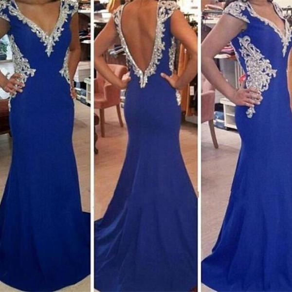 Prom Dress,Mermaid Prom Dresses,V-Neck Evening Dress,Backless Evening Dress,Formal Evening Dress,Satin Evening Dress